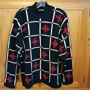 Holiday Christmas Wool Red White Snowflake Sweater